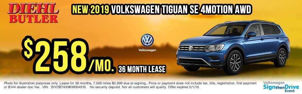 V191125-vw-tiguan-se-4motion sign then drive event Volkswagen specials diehl auto Diehl vw new vehicle specials butler pa