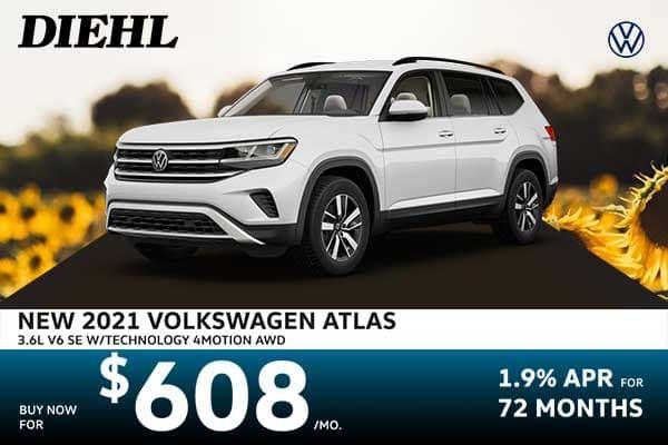 New 2021 Volkswagen Atlas 3.6L V6 SE w/Technology AWD