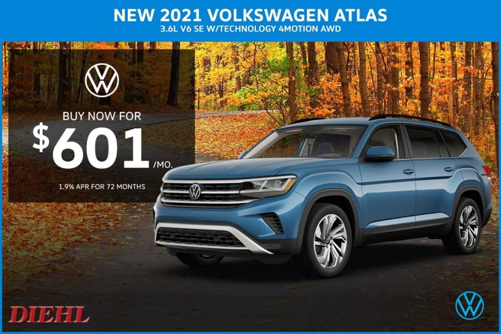 NEW 2021 VOLKSWAGEN ATLAS 3.6L V6 SE W/TECHNOLOGY 4MOTION AWD