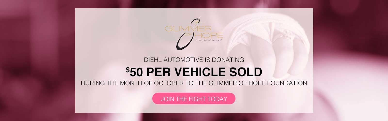 Diehl Volkswagen glimmer of hope breast cancer awareness foundation donate vw lease special buy now butler pa