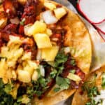 al pastor tacos with radishes