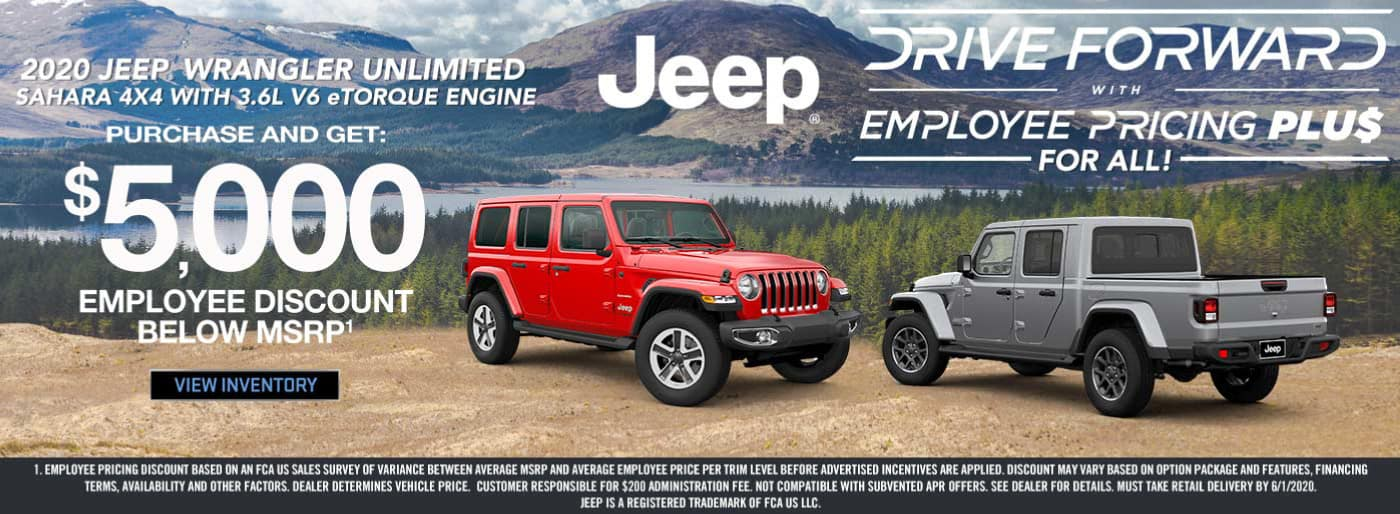 $5,000 employee discount for certain 2020 Jeep Wrangler models