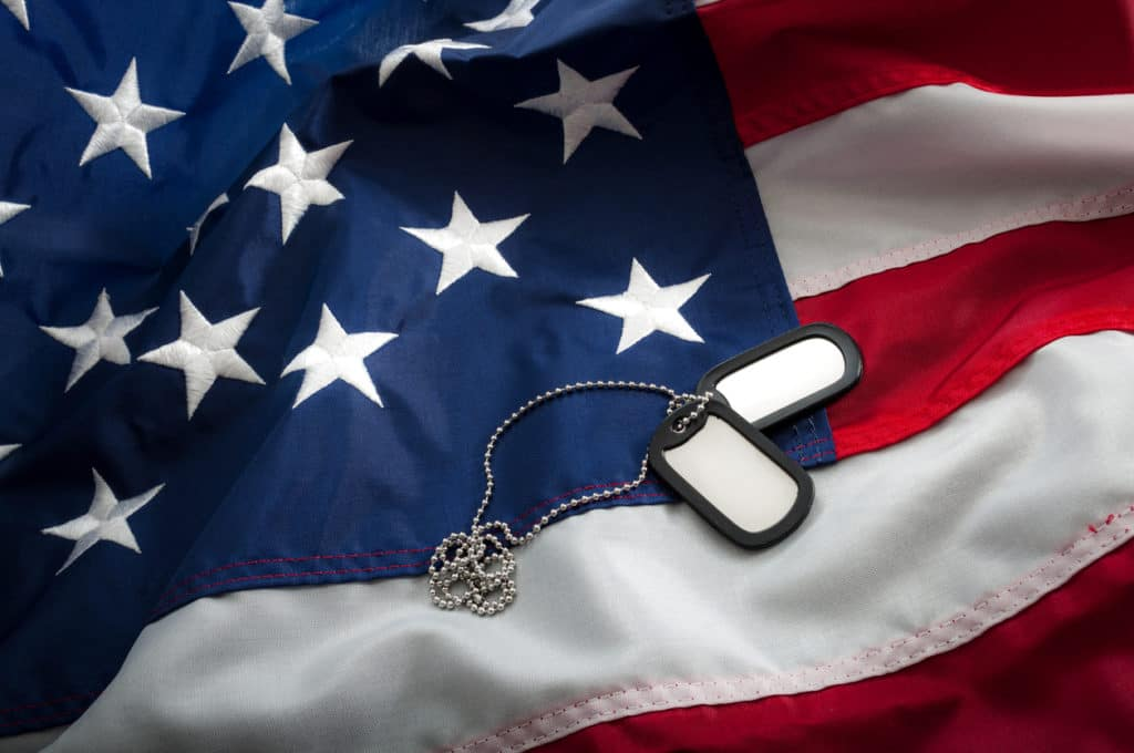 Military dog tags laying across the American Flag