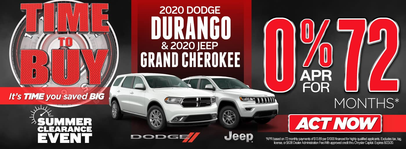 2020 Durango and Jeep Cherokee | 0% APR for 72 Months | Act Now