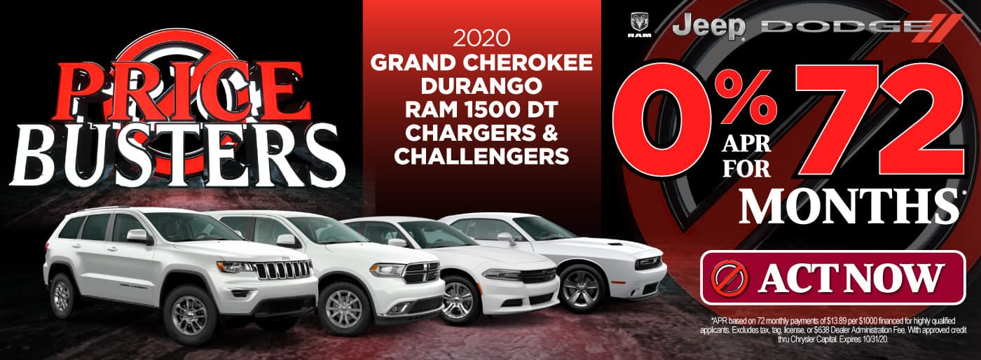 2020 Grand Cherokee, Durango, Ram 1500 DT, Chargers & Challengers | 0% APR for 72 months | Click to View Inventory