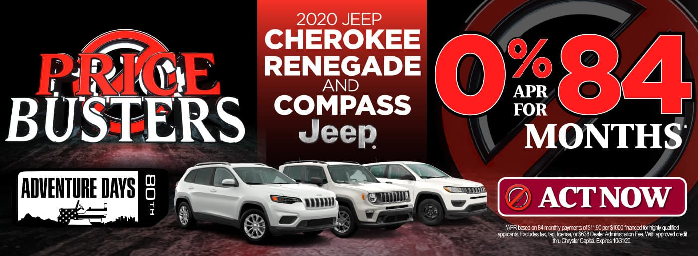 2020 Jeep Cherokee, Renegade, and Compass | 0% APR for 84 months | Click to View Inventory