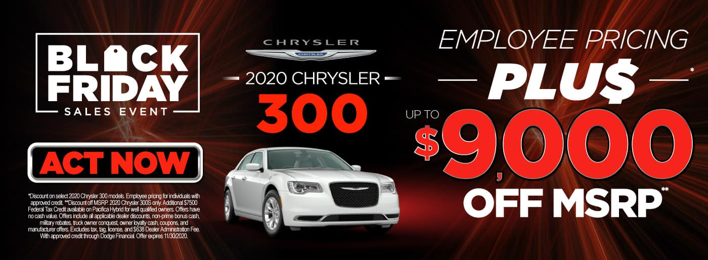 2020 Chrysler 300 employee pricing plus $9,000 off msrp | Act Now