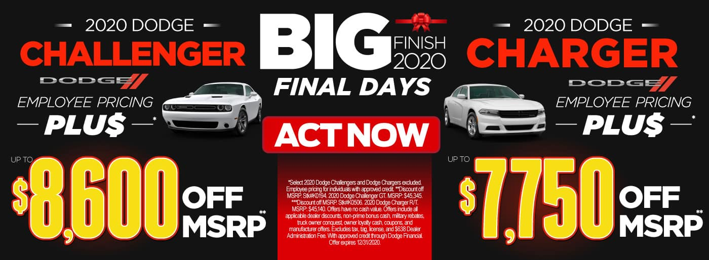 2020 Challenger employee pricing plus up to $8,600 off msrp or Charger employe pricing plus up to $7,750 off msrp | Act Now