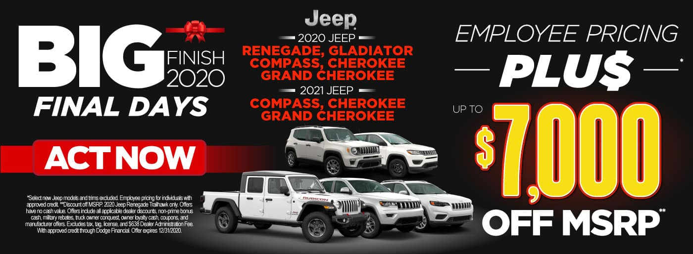 Several New Jeep Models with Employee pricing plus up to $7,000 off msrp | Act Now