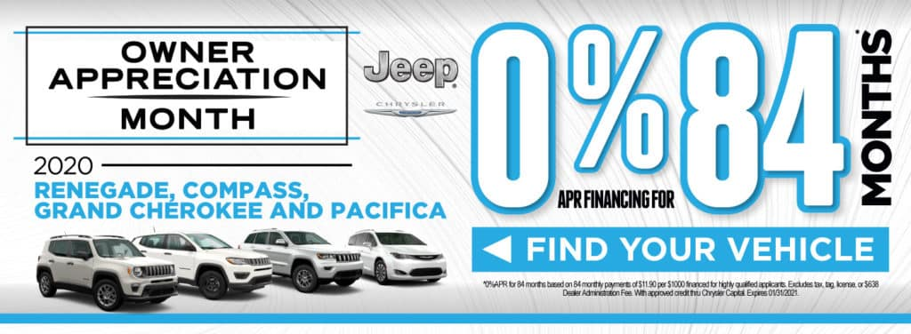 2020 Renegade, Compass, Grand Cherokee, and Pacifica | 0% apr for 84 months | Act Now