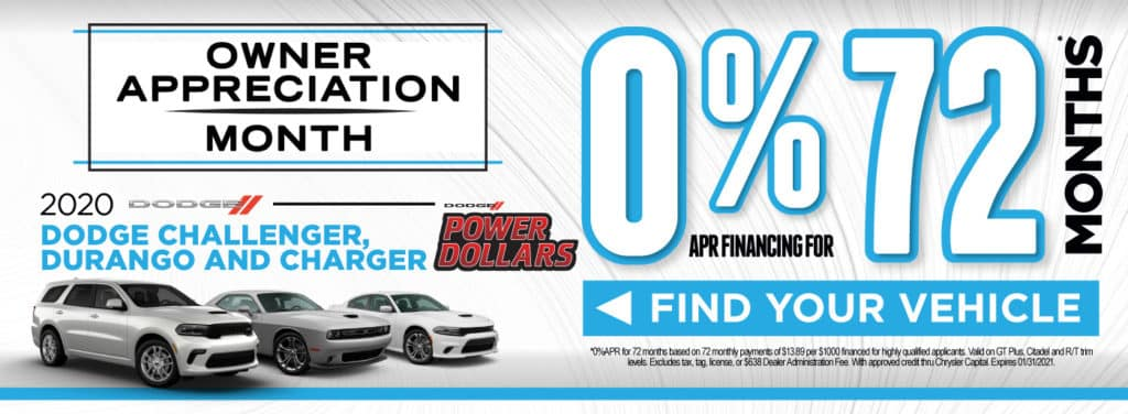 2020 Dodge Challenger, Durango, and Charger 0% for 72 months | Act Now