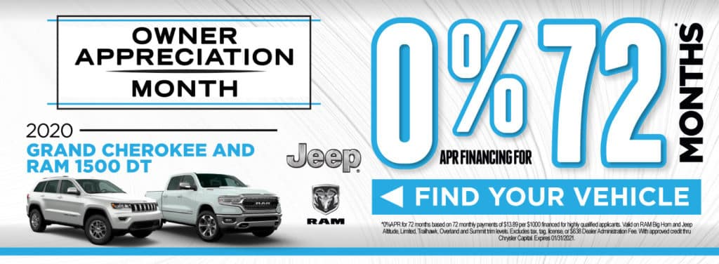 2020 Grand Cherokee and Ram 1500 | 0% for 72 months | Act Now