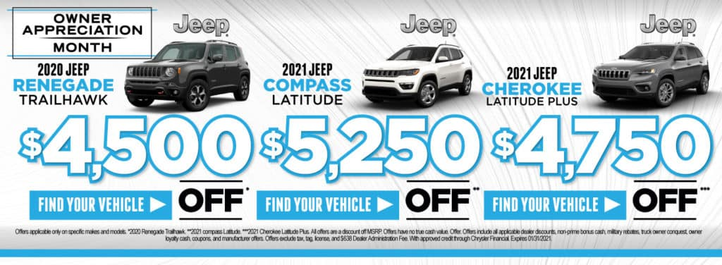 2020 Renegade $4,500 off | 2021 Compass $5,250 off | Cherokee $4,750 off | Act Now