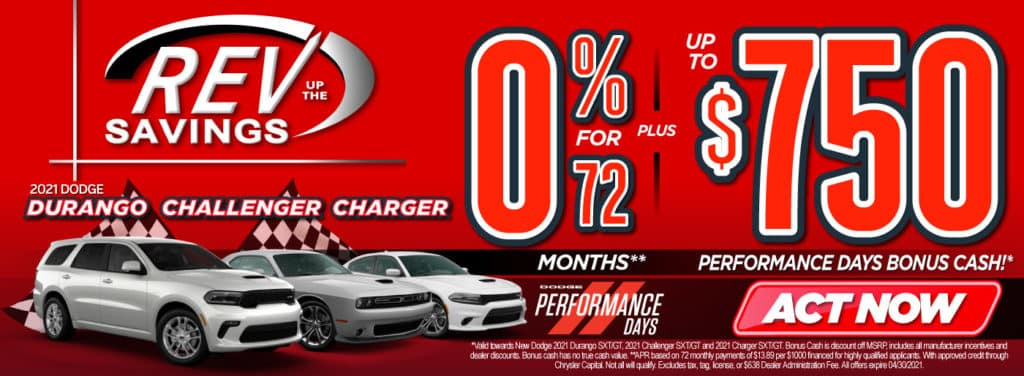 New 2021 Dodge Durango, Challenger, Charger 0% for 72 months | Act Now
