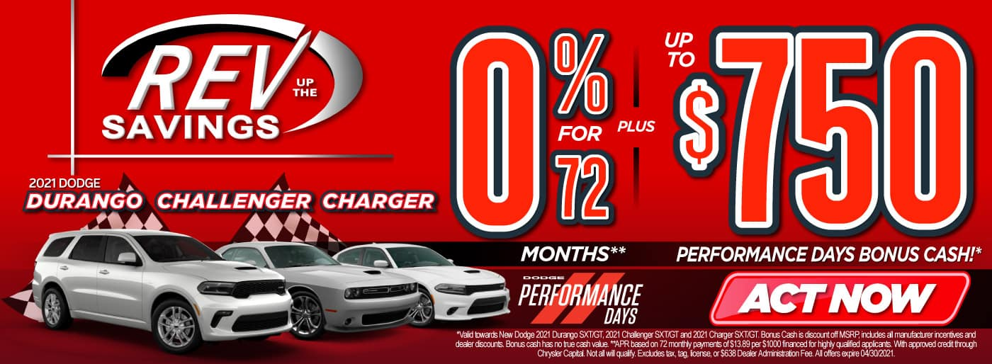 New 2021 Dodge Durango, Challenger, Charger 0% for 72 months   Act Now