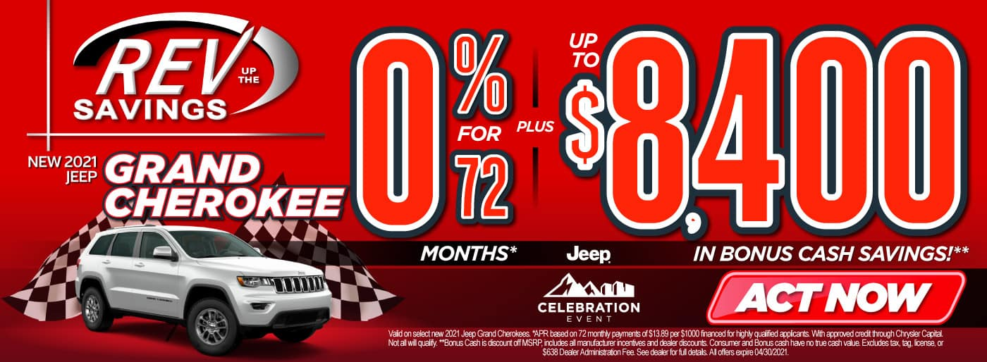 New 2021 Jeep Grand Cherokee 0% for 72 months   Act Now