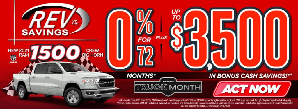 New 2021 RAM 1500 0% for 72 months | Act Now