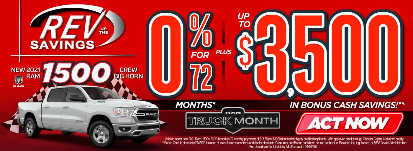 New 2021 RAM 1500 0% for 72 months   Act Now
