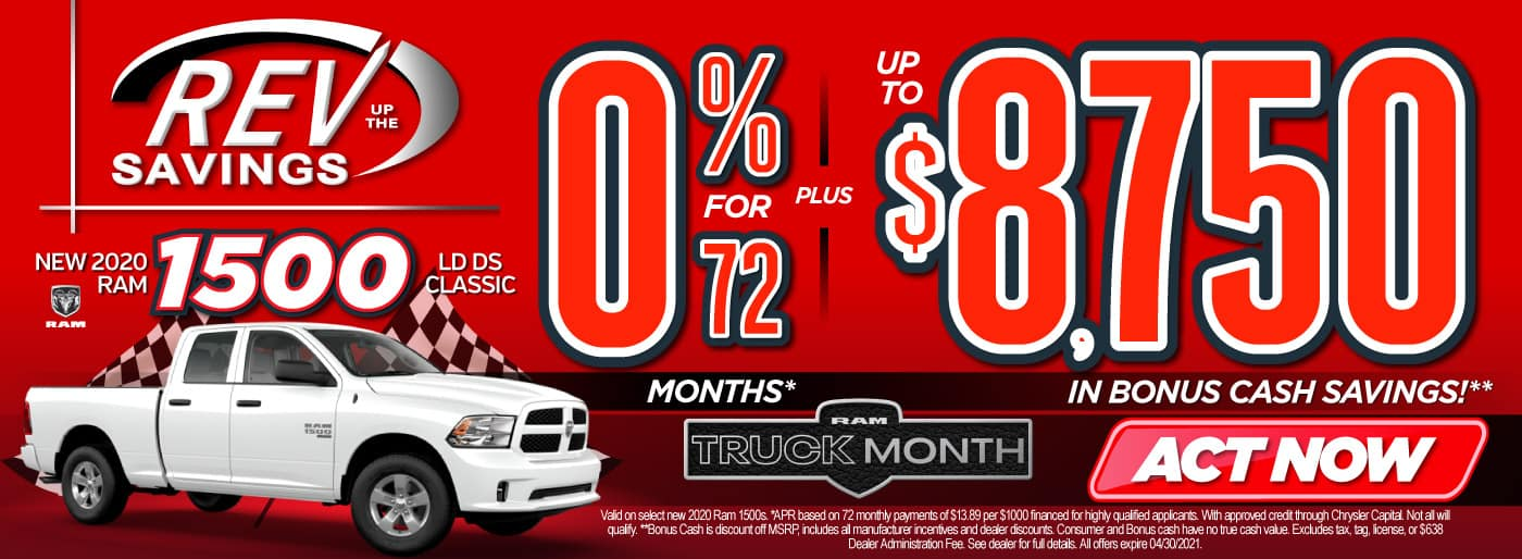 New 2020 RAM 1500 classic 0% for 72 months   Act Now