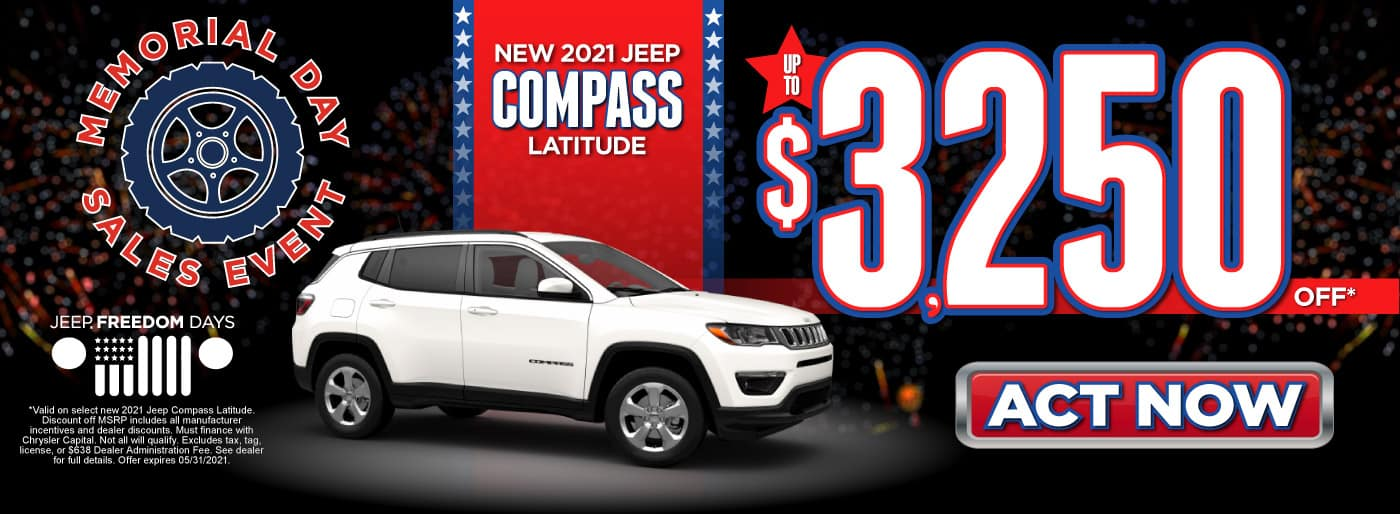 New 2021 Jeep Compass Latitude - Up to $3,250 Off - ACT NOW