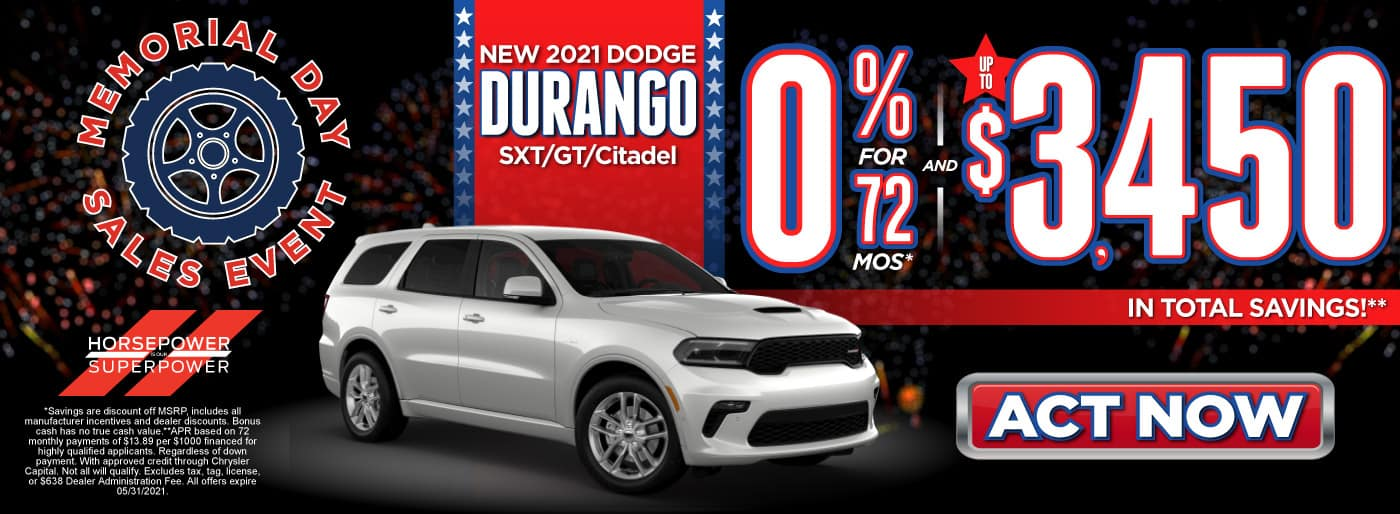 New 2021 Dodge Durango SXT/GT/Citadel 0% for 72 months and up to $3,450 in total Savings - ACT NOW