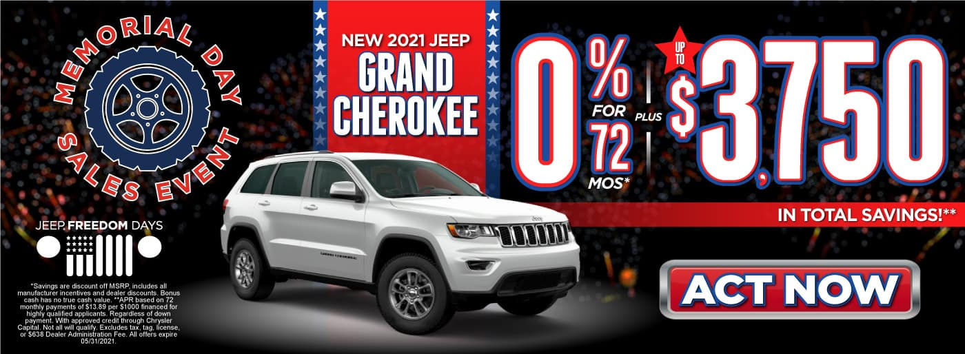 New 2021 Jeep Grand Cherokee - 0% for 72 months plus up to $3,750 in total savings - ACT NOW