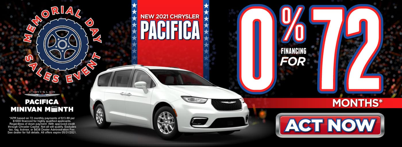 New 2021 Chrysler Pacifica - 0% Financing for 72 Months - ACT NOW