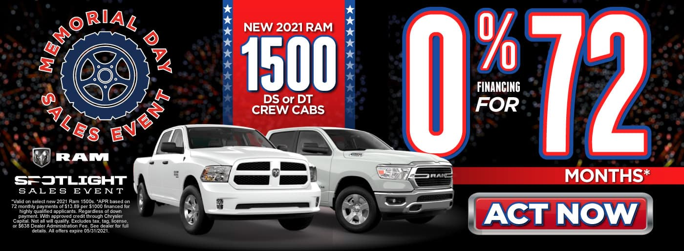 New 2021 Ram 1500 DS or DT Crew Cabs - 0% Financing for 72 months - ACT NOW
