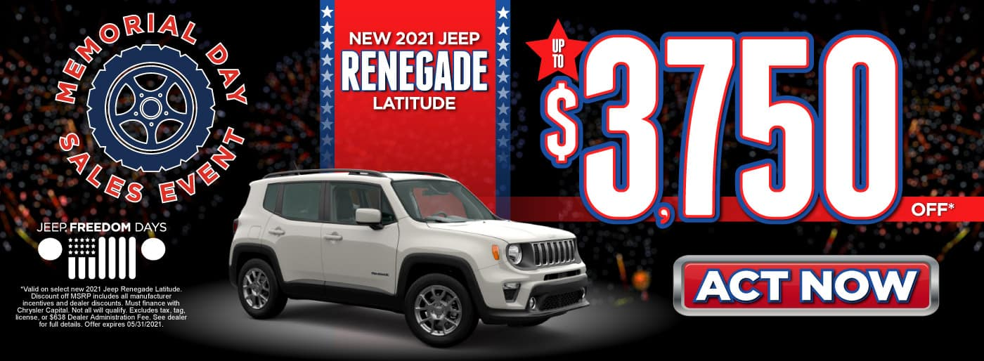 New 2021 Jeep Renegade Latitude - Up to $3,750 Off - ACT NOW