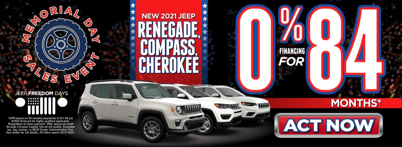 New 2021 Jeep Renegade, Compass, Cherokee - 0% Financing for 84 Months - ACT NOW