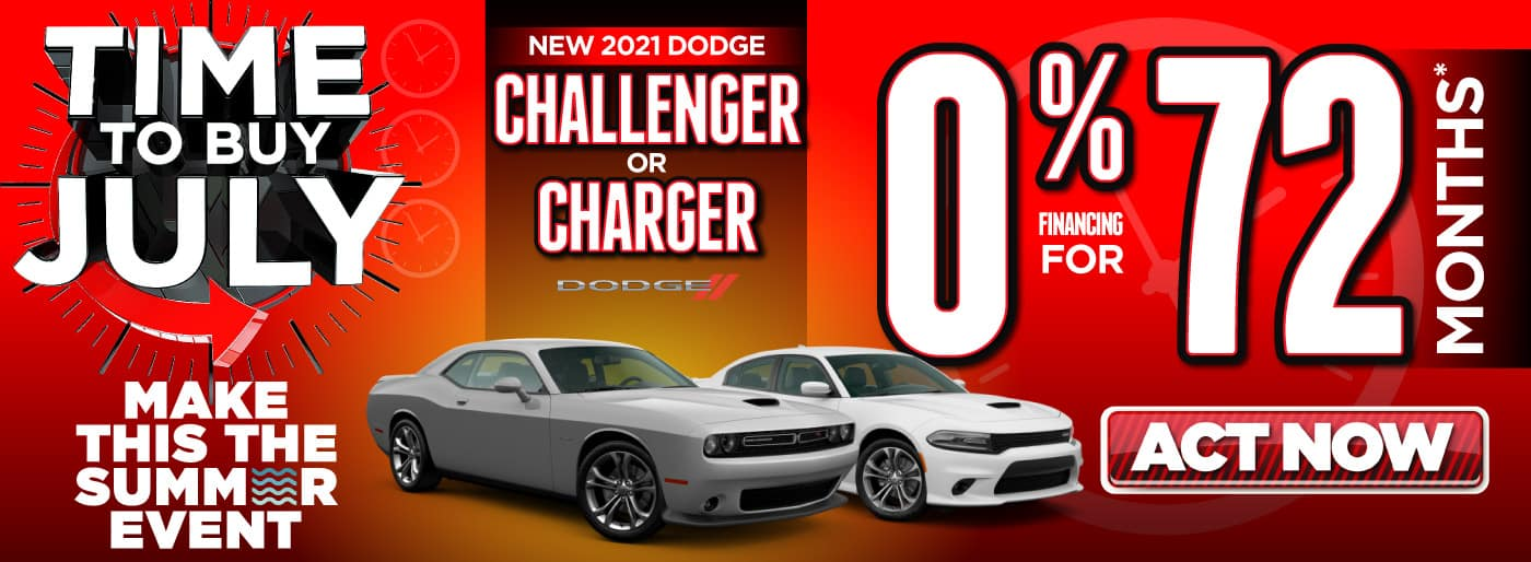 2021 Dodge Challenger or Charger 0% for 72 months   Act Now