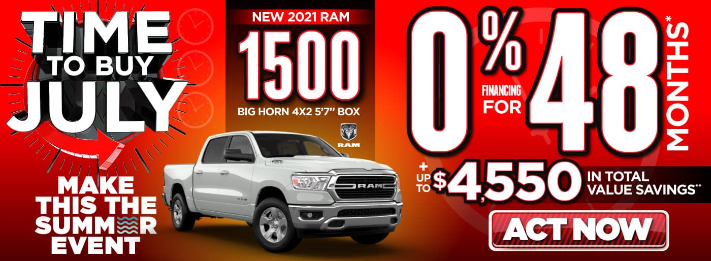 2021 RAM 1500 0% for 48 months   Act Now