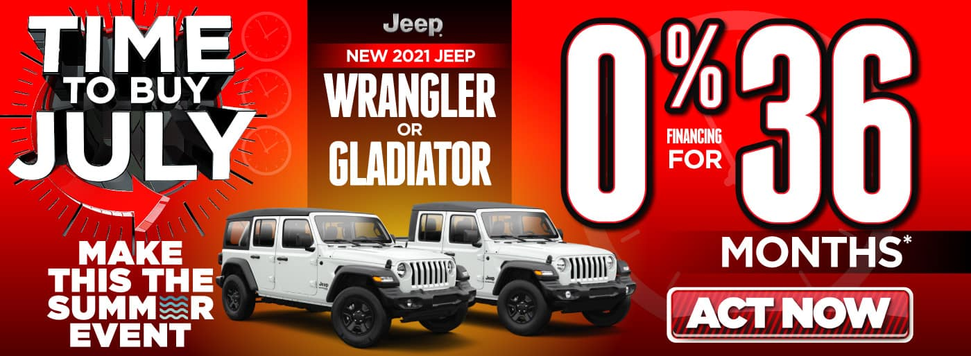 2021 Jeep Wrangler or Gladiator 0% for 36 months   Act Now