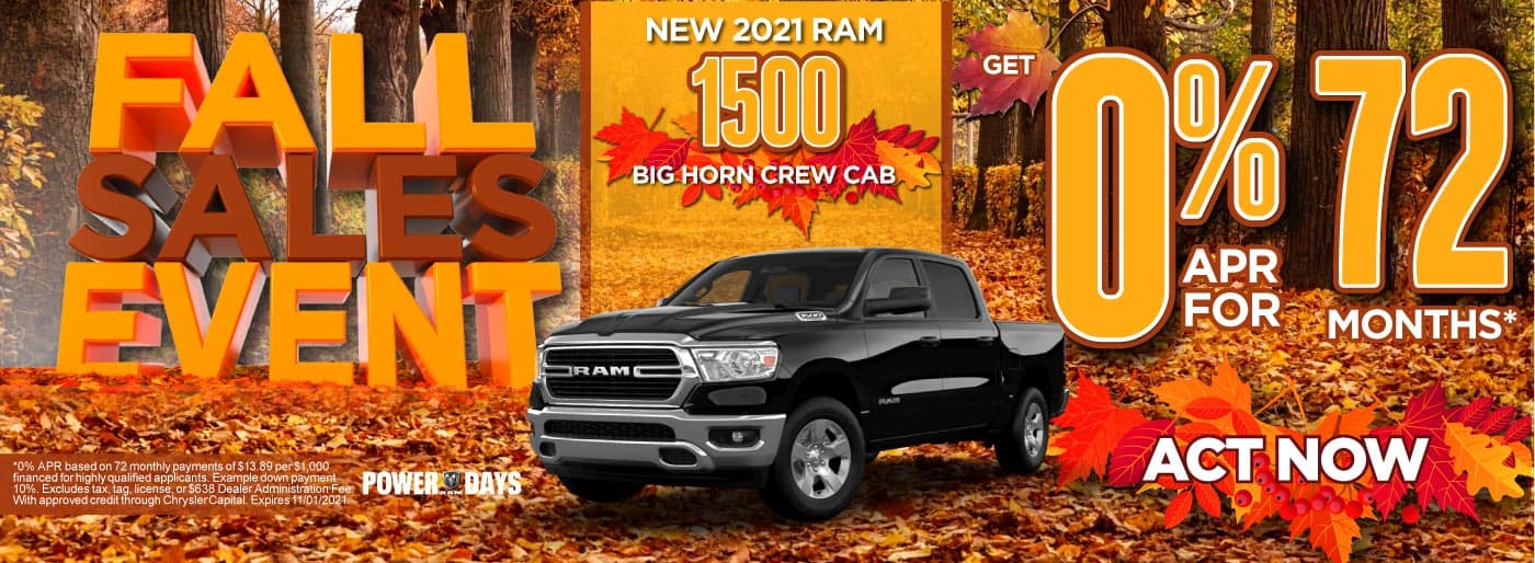 Alt Text: New 2021 Ram 1500 Big Horn Crew Cab - 0% APR for 72 months - ACT NOW