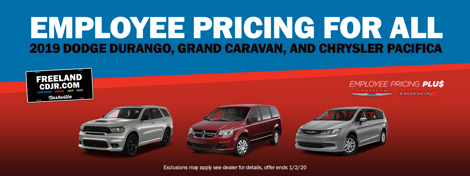 Dodge durango, grand caravan, and chrysler pacifica employee pricing