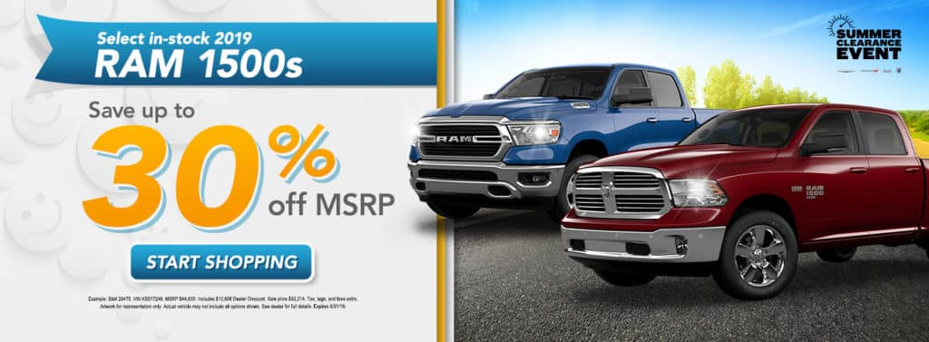 UP TO 30% OFF MSRP ON SELECT NEW 2019 RAM 1500