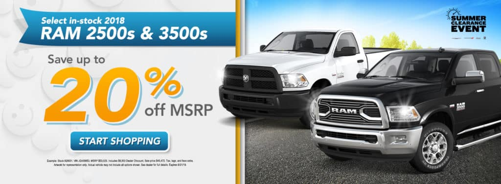 Save up to 20% off 2018 Ram 2500s & 3500s