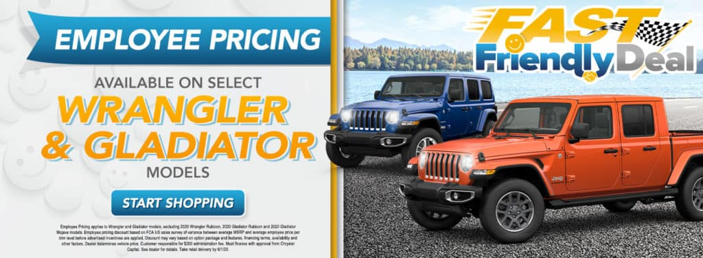 Employee Pricing for all on Select Wrangler and Gladiator Models