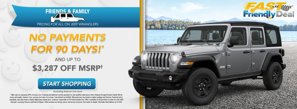 Friends & Family Pricing on 2020 Jeep Wrangler (excluding Rubicon)