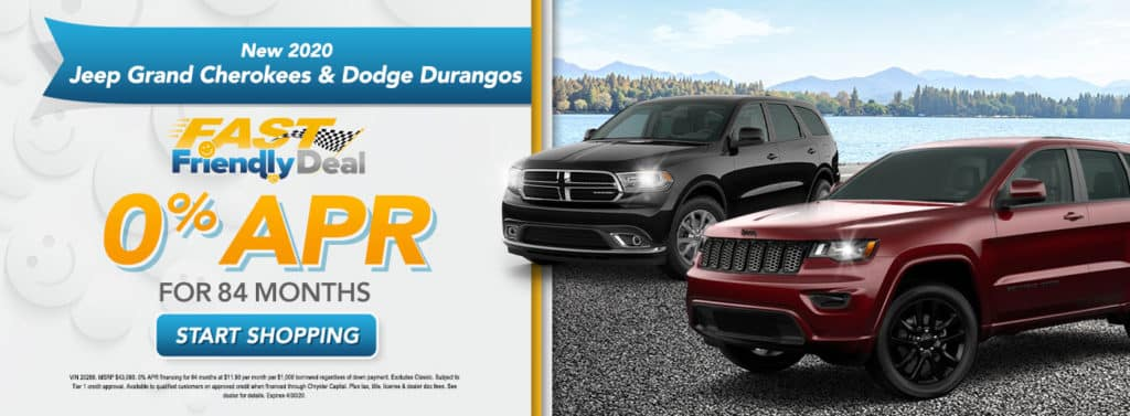 0% APR Financing for 84 months on 2020 Jeep Grand Cherokee and Dodge Durango Models