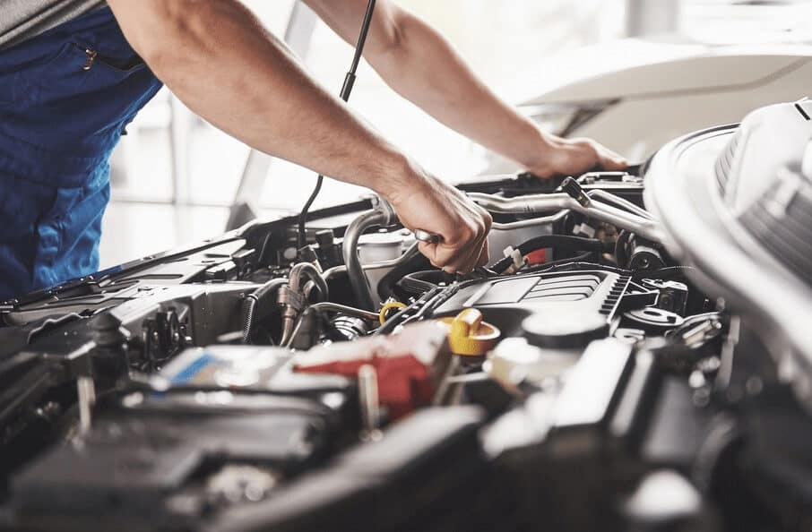 Mechanic Working at Service Center