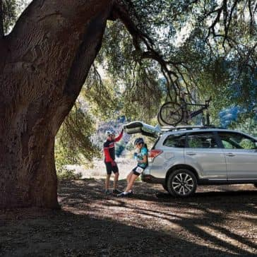 2018 Subaru Forester Exterior parked in forest with cargo area open
