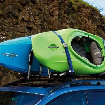 Closeup of Kayaks Tied to Roof Rails of 2019 Subaru Crosstrek