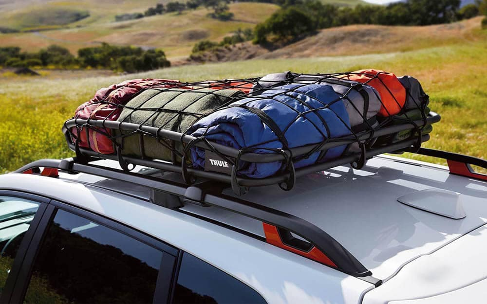 2019 Subaru Forester Camping Gear in Luggage Rack on Roof Rails