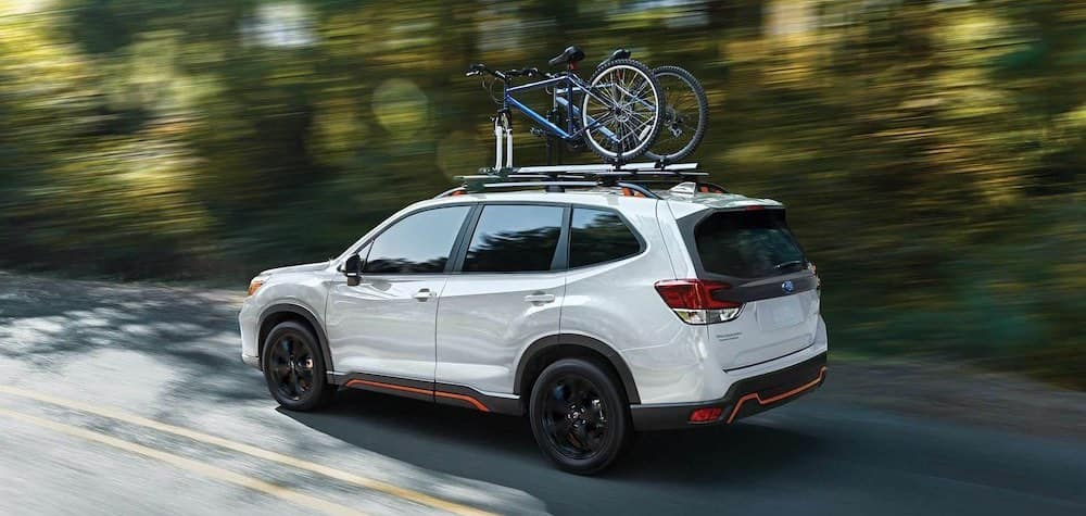 2019 Subaru Forester with bikes on roof rack