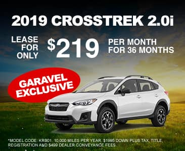<center>Lease a 2019 Crosstrek 2.0i for $219 Per Month<center>