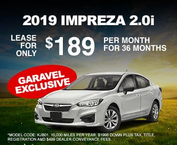 <center>Lease a 2019 Impreza 2.0i for $189 Per Month<center>