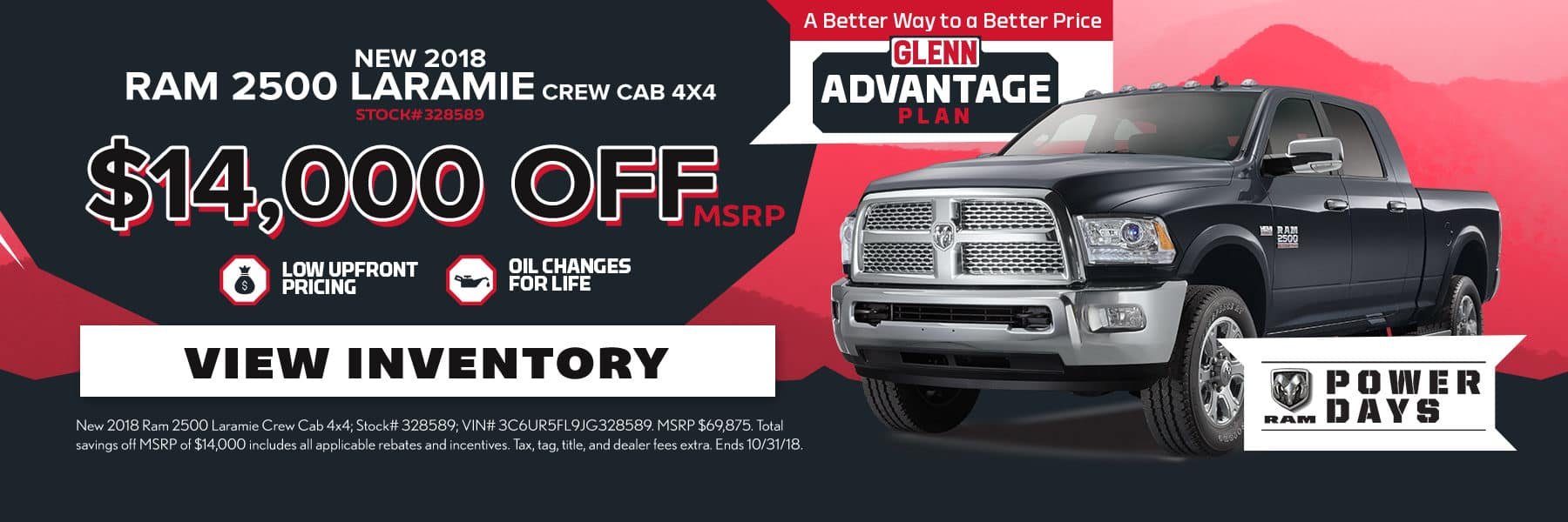 New 2018 RAM 2500 Offer Oct18