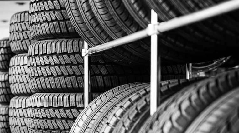 picture of many tires on a rack