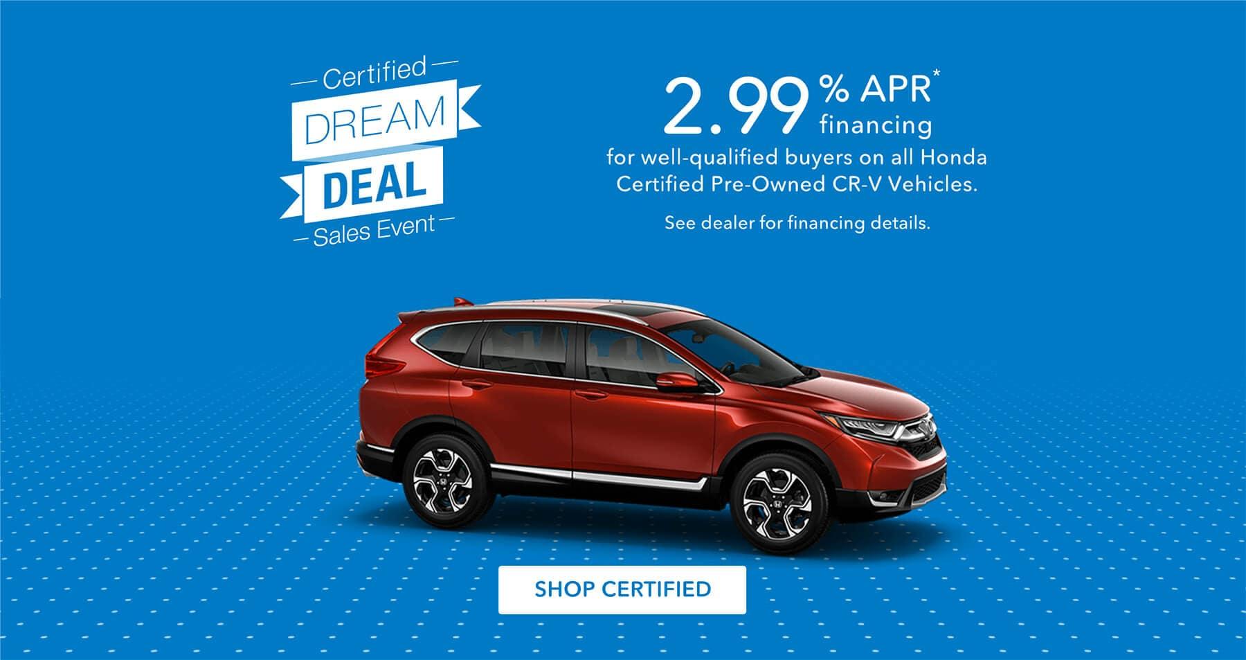Honda Certified Dream Deal Sales Event Honda CR-V Banner